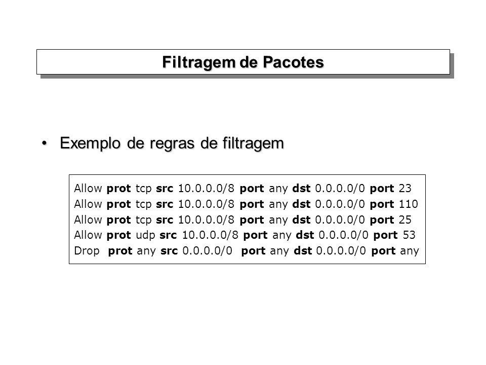 Filtragem de Pacotes Exemplo de regras de filtragemExemplo de regras de filtragem Allow prot tcp src 10.0.0.0/8 port any dst 0.0.0.0/0 port 23 Allow p