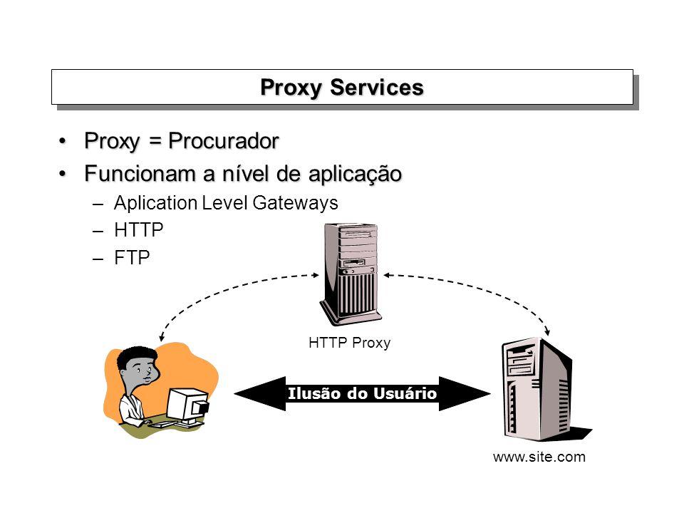 Proxy Services Proxy = ProcuradorProxy = Procurador Funcionam a nível de aplicaçãoFuncionam a nível de aplicação –Aplication Level Gateways –HTTP –FTP