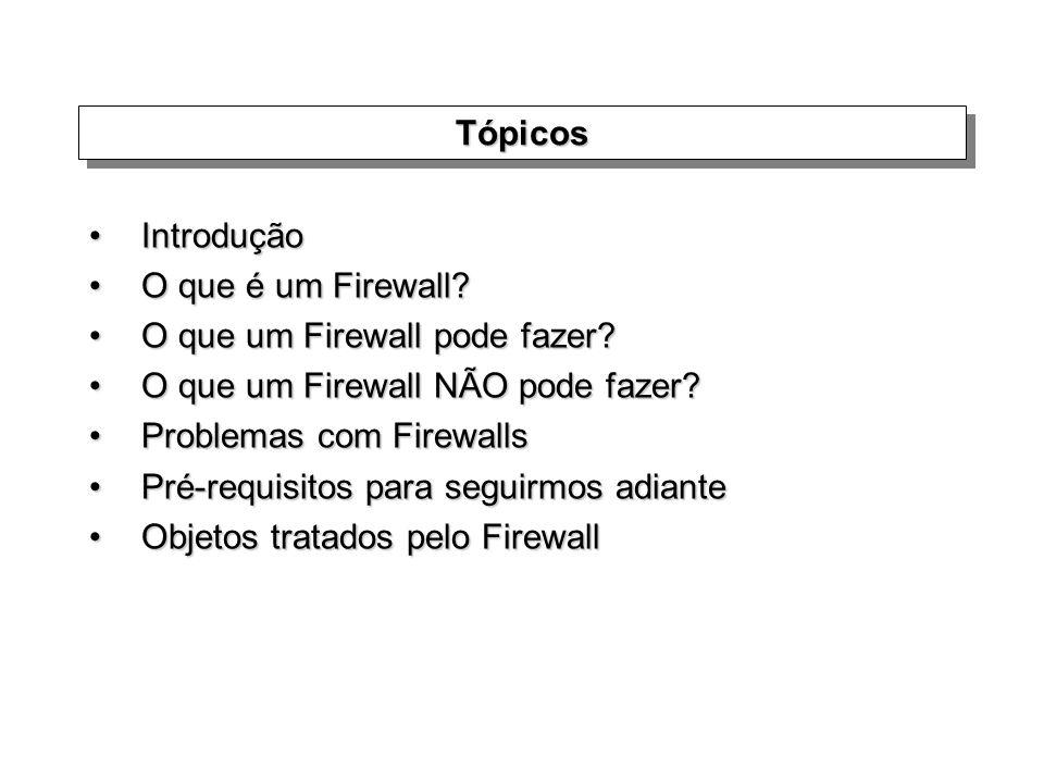 TópicosTópicos IntroduçãoIntrodução O que é um Firewall?O que é um Firewall? O que um Firewall pode fazer?O que um Firewall pode fazer? O que um Firew