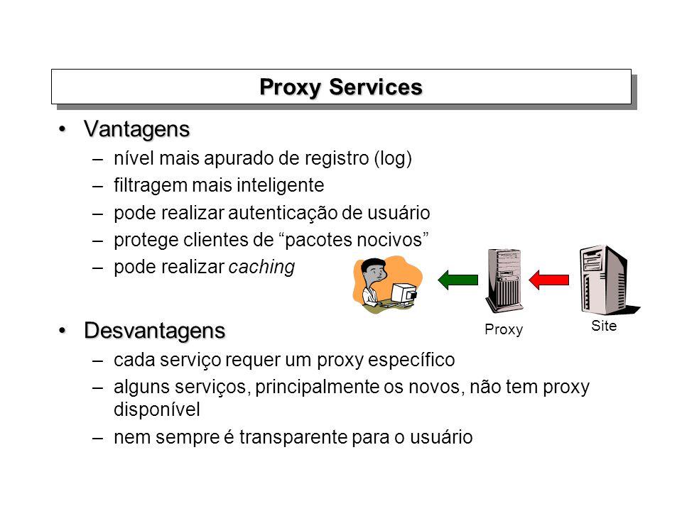 Proxy Services VantagensVantagens –nível mais apurado de registro (log) –filtragem mais inteligente –pode realizar autenticação de usuário –protege cl