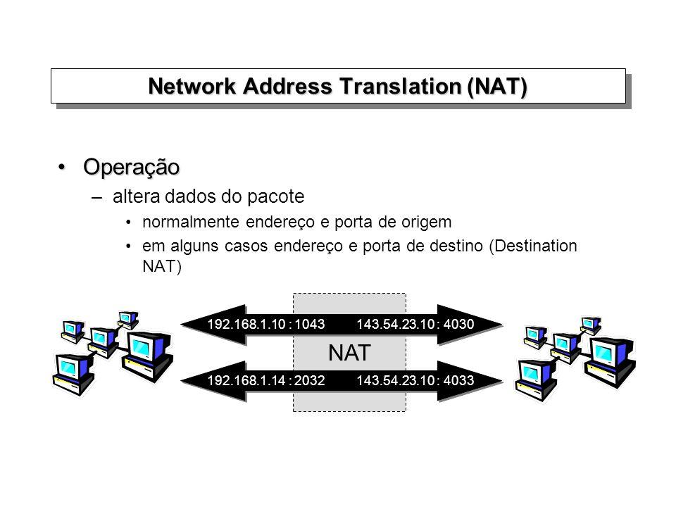 Network Address Translation (NAT) OperaçãoOperação –altera dados do pacote normalmente endereço e porta de origem em alguns casos endereço e porta de