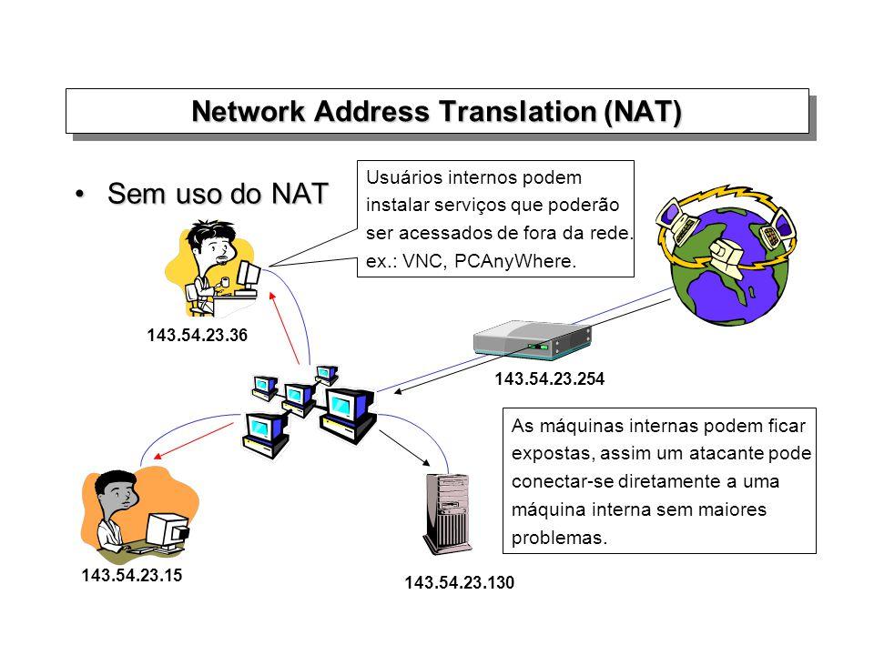 Sem uso do NATSem uso do NAT Network Address Translation (NAT) As máquinas internas podem ficar expostas, assim um atacante pode conectar-se diretamen