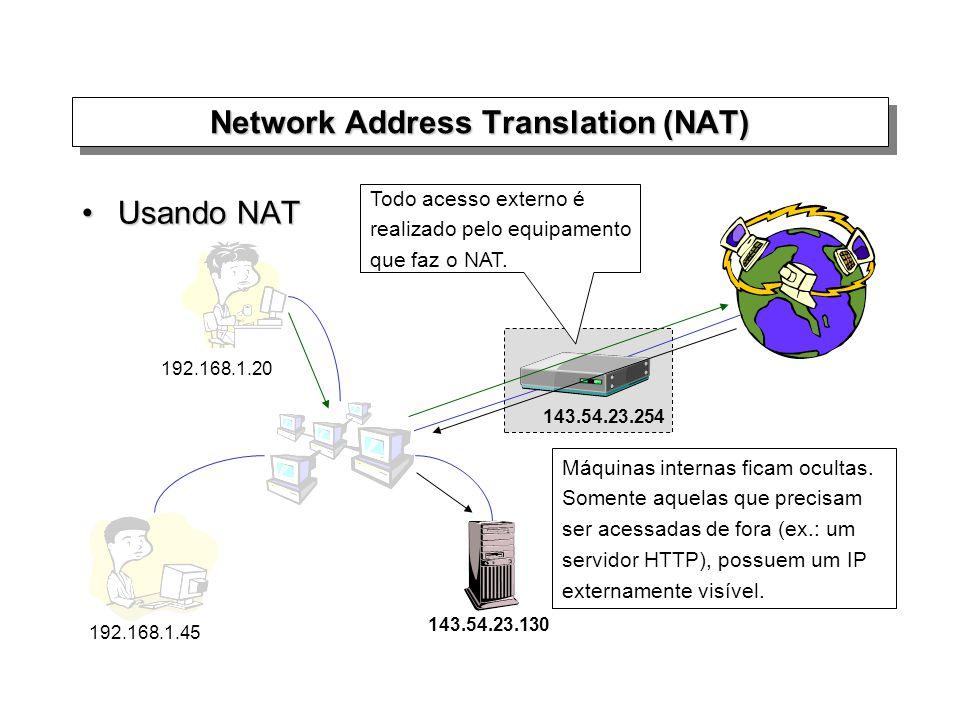 Usando NATUsando NAT Network Address Translation (NAT) 143.54.23.130 143.54.23.254 192.168.1.20 192.168.1.45 Máquinas internas ficam ocultas. Somente