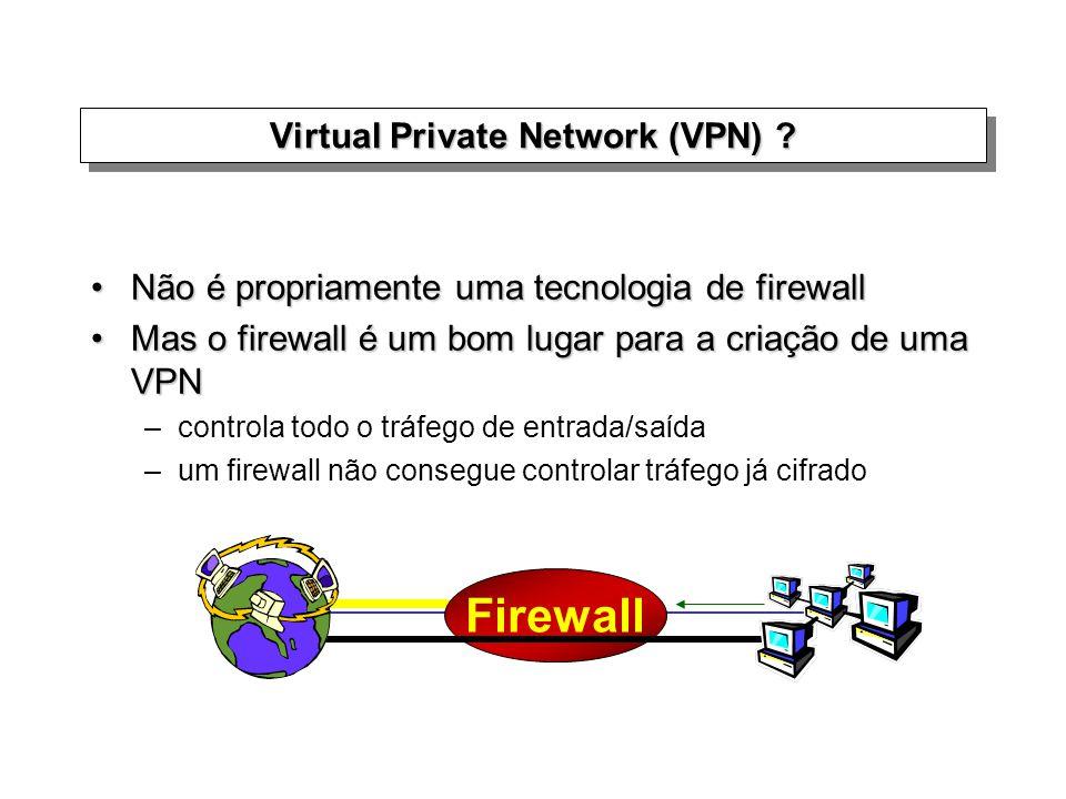 Não é propriamente uma tecnologia de firewallNão é propriamente uma tecnologia de firewall Mas o firewall é um bom lugar para a criação de uma VPNMas