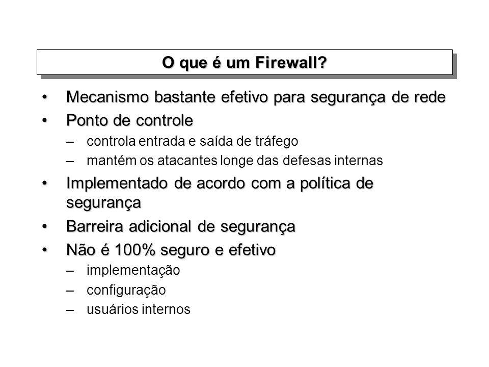 O que é um Firewall? Mecanismo bastante efetivo para segurança de redeMecanismo bastante efetivo para segurança de rede Ponto de controlePonto de cont