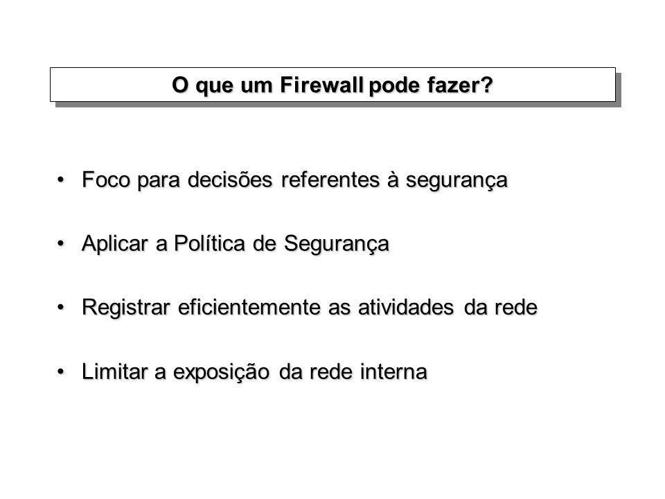 O que um Firewall pode fazer? Foco para decisões referentes à segurançaFoco para decisões referentes à segurança Aplicar a Política de SegurançaAplica