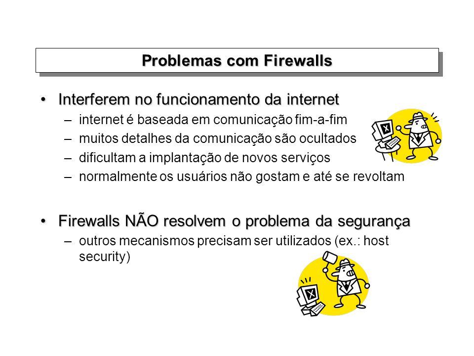 Problemas com Firewalls Interferem no funcionamento da internetInterferem no funcionamento da internet –internet é baseada em comunicação fim-a-fim –m