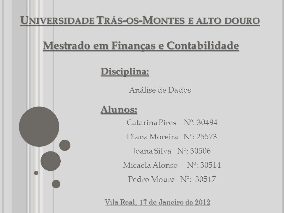 U NIVERSIDADE T RÁS - OS -M ONTES E ALTO DOURO Mestrado em Finanças e Contabilidade Disciplina: Análise de DadosAlunos: Catarina Pires Nº: 30494 Diana