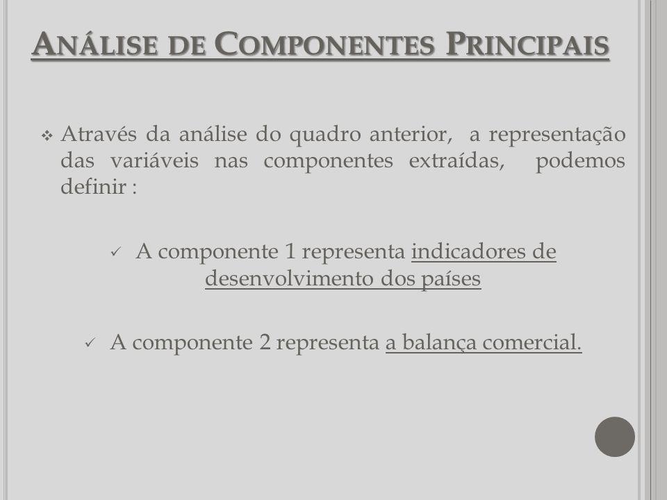 A NÁLISE DE C OMPONENTES P RINCIPAIS Através da análise do quadro anterior, a representação das variáveis nas componentes extraídas, podemos definir :