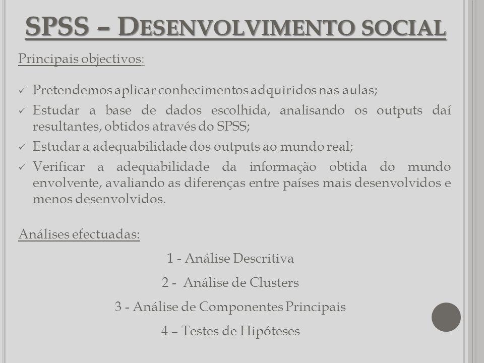 SPSS – D ESENVOLVIMENTO SOCIAL Principais objectivos: Pretendemos aplicar conhecimentos adquiridos nas aulas; Estudar a base de dados escolhida, anali