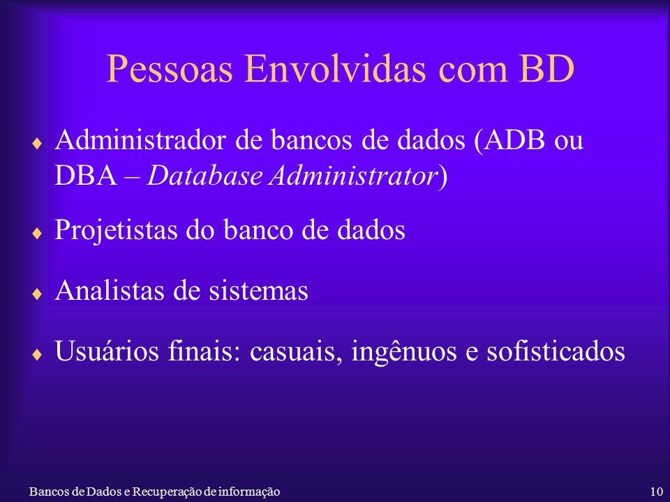 Bancos de Dados e Recuperação de informação10 Pessoas Envolvidas com BD Administrador de bancos de dados (ADB ou DBA – Database Administrator) Projeti