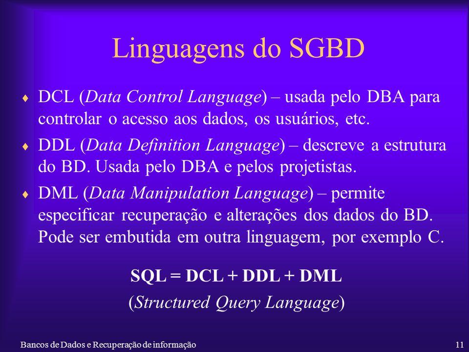Bancos de Dados e Recuperação de informação11 Linguagens do SGBD DCL (Data Control Language) – usada pelo DBA para controlar o acesso aos dados, os us