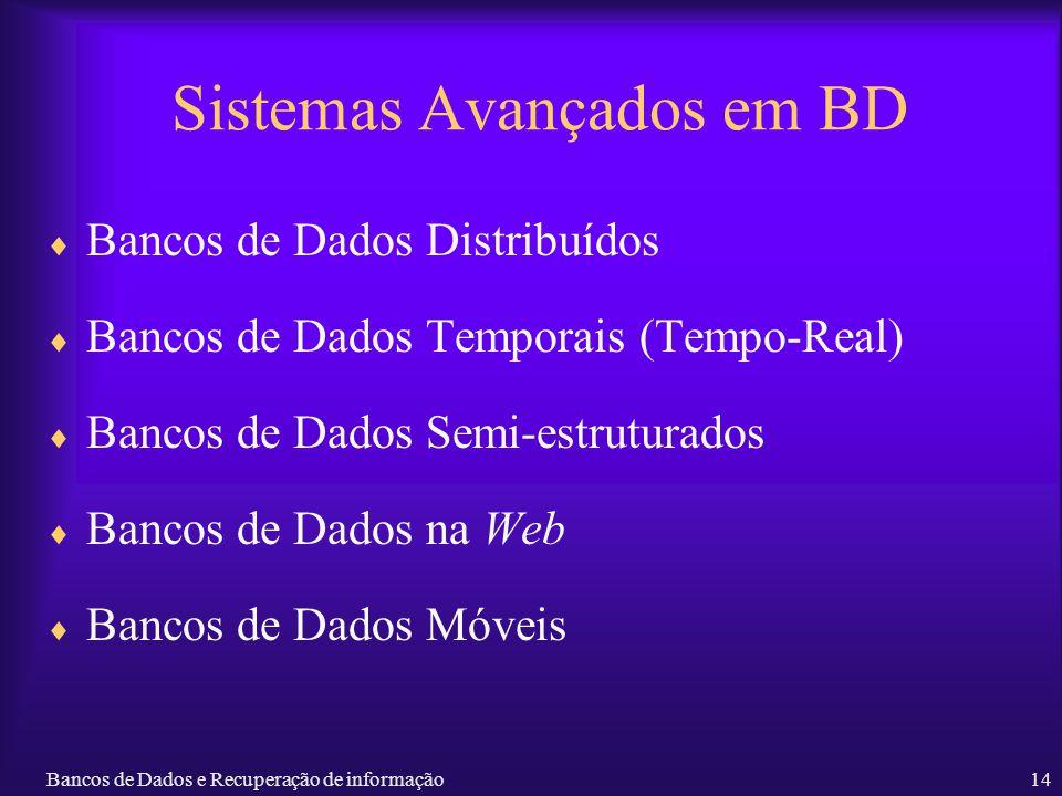 Bancos de Dados e Recuperação de informação14 Sistemas Avançados em BD Bancos de Dados Distribuídos Bancos de Dados Temporais (Tempo-Real) Bancos de D