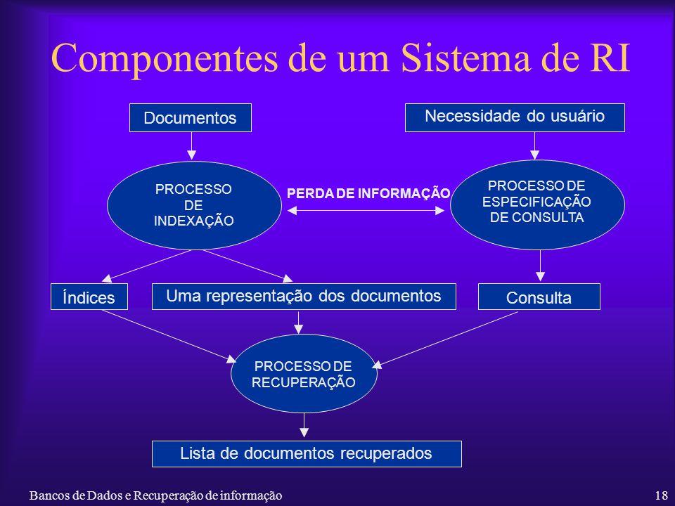 Bancos de Dados e Recuperação de informação18 Componentes de um Sistema de RI Documentos Necessidade do usuário PERDA DE INFORMAÇÃO PROCESSO DE INDEXA
