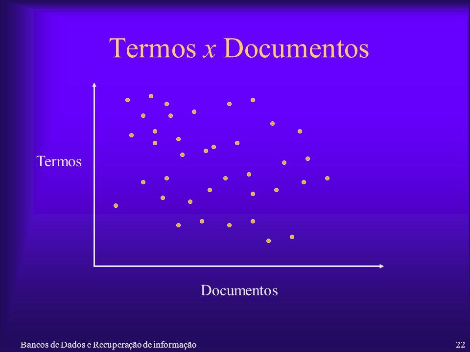 Bancos de Dados e Recuperação de informação22 Termos x Documentos Documentos Termos