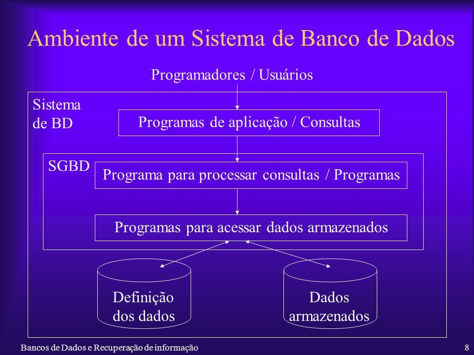 Bancos de Dados e Recuperação de informação8 Ambiente de um Sistema de Banco de Dados Programadores / Usuários Sistema de BD Programas de aplicação /