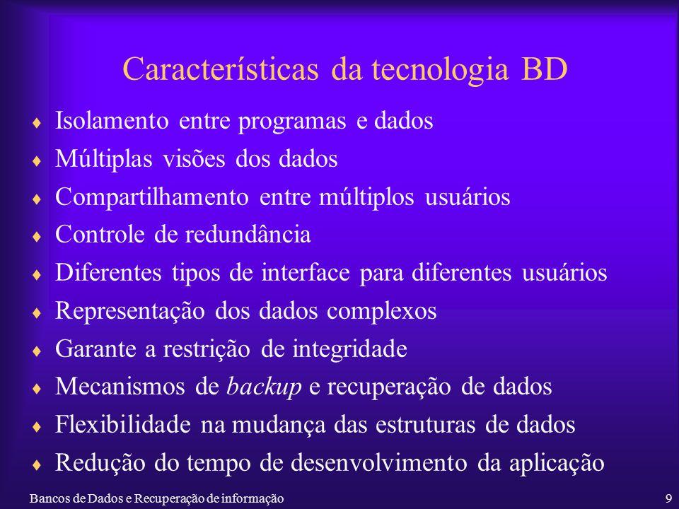 Bancos de Dados e Recuperação de informação9 Características da tecnologia BD Isolamento entre programas e dados Múltiplas visões dos dados Compartilh