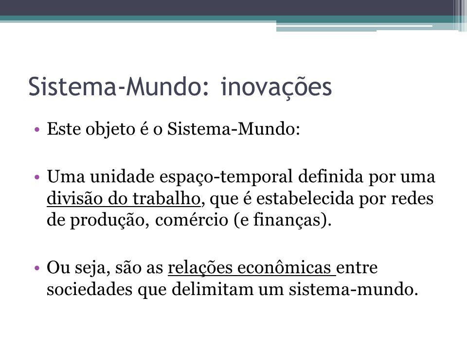 Tipos de Sistema-Mundo Império-Mundo: centralização política sobre os territórios economicamente integrados.