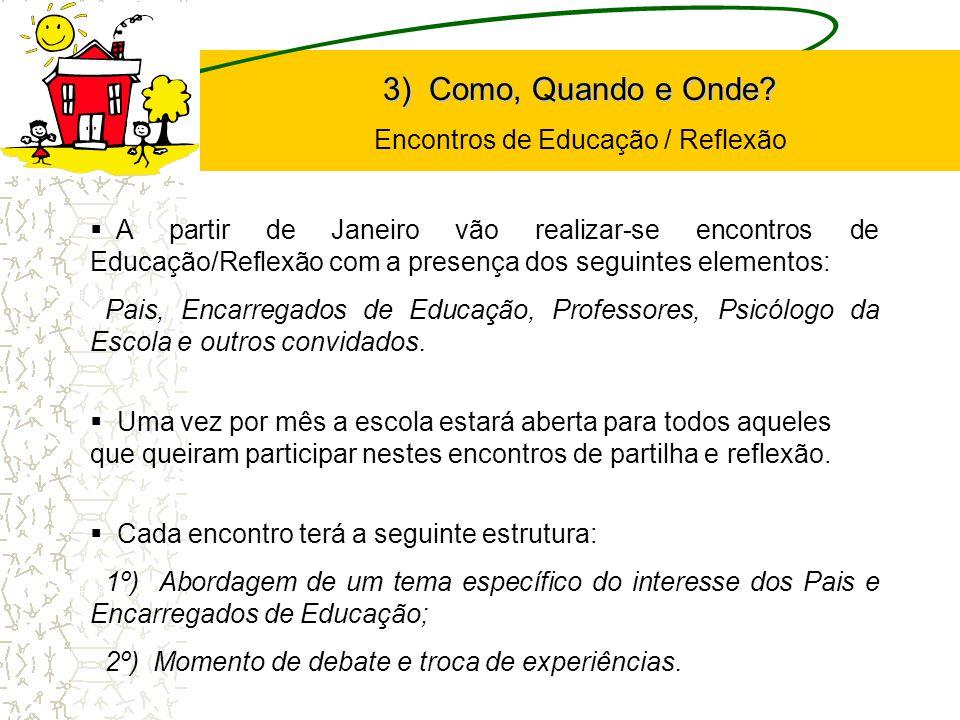 A partir de Janeiro vão realizar-se encontros de Educação/Reflexão com a presença dos seguintes elementos: Pais, Encarregados de Educação, Professores