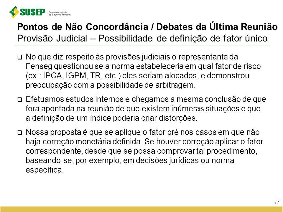 Pontos de Não Concordância / Debates da Última Reunião Provisão Judicial – Possibilidade de definição de fator único No que diz respeito às provisões