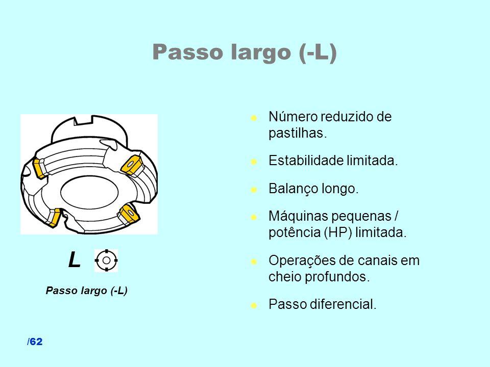 /62 Passo largo (-L) l Número reduzido de pastilhas. l Estabilidade limitada. l Balanço longo. l Máquinas pequenas / potência (HP) limitada. l Operaçõ