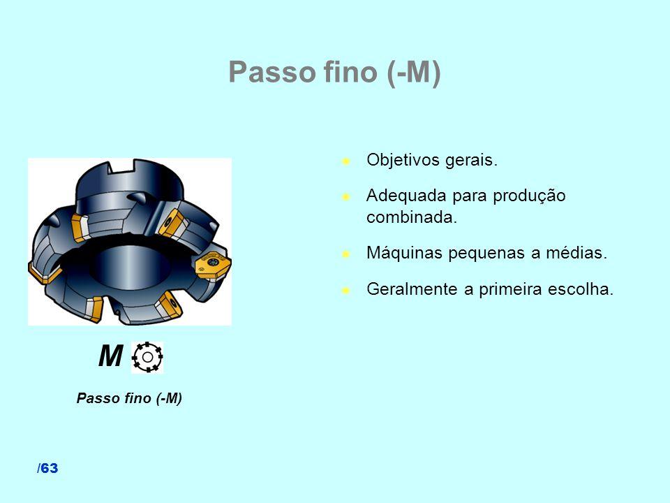 /63 Passo fino (-M) l Objetivos gerais. l Adequada para produção combinada. l Máquinas pequenas a médias. l Geralmente a primeira escolha. Passo fino