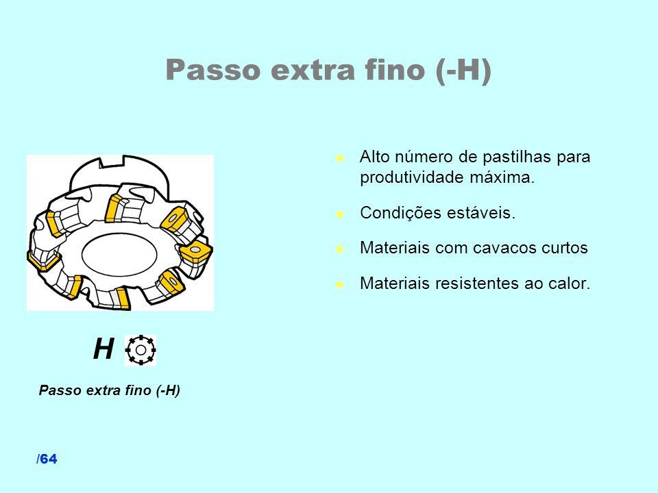 /64 Passo extra fino (-H) l Alto número de pastilhas para produtividade máxima. l Condições estáveis. l Materiais com cavacos curtos l Materiais resis