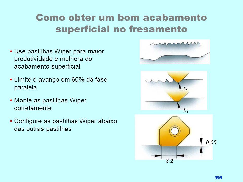 /66 Como obter um bom acabamento superficial no fresamento Use pastilhas Wiper para maior produtividade e melhora do acabamento superficial Limite o a