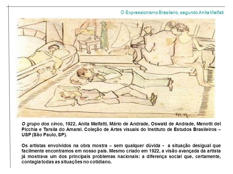 O grupo dos cinco, 1922, Anita Malfatti, Mário de Andrade, Oswald de Andrade, Menotti del Picchia e Tarsila do Amaral.