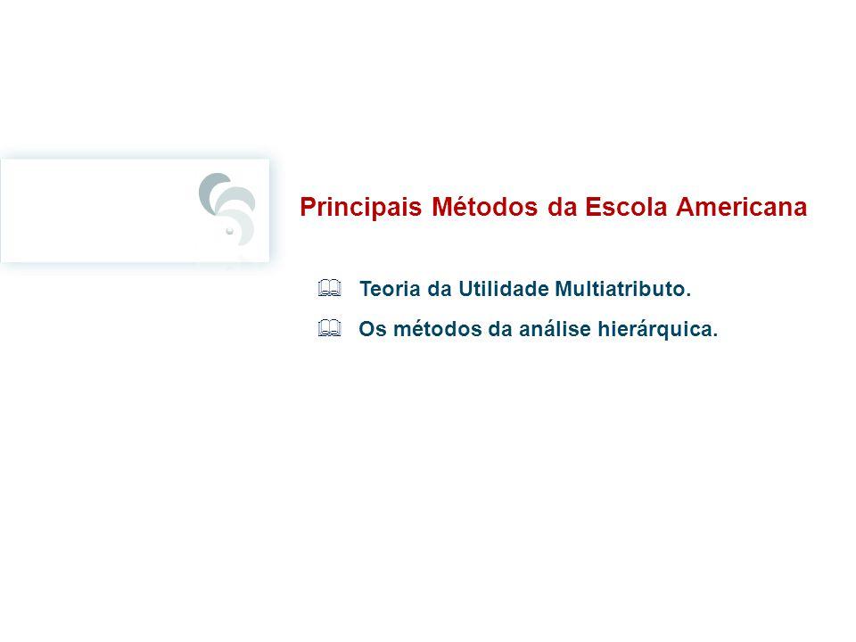 Principais Métodos da Escola Americana Teoria da Utilidade Multiatributo. Os métodos da análise hierárquica.