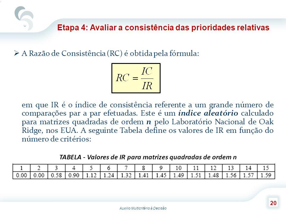 Auxilio Multicritério à Decisão 20 A Razão de Consistência (RC) é obtida pela fórmula: em que IR é o índice de consistência referente a um grande núme