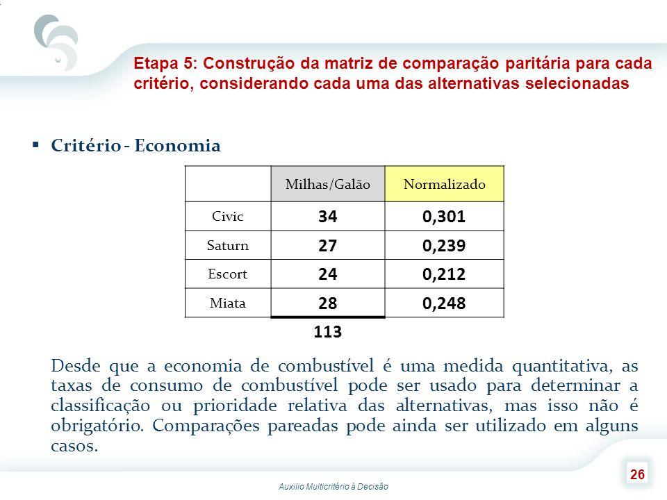 Auxilio Multicritério à Decisão 26 Critério - Economia Desde que a economia de combustível é uma medida quantitativa, as taxas de consumo de combustív