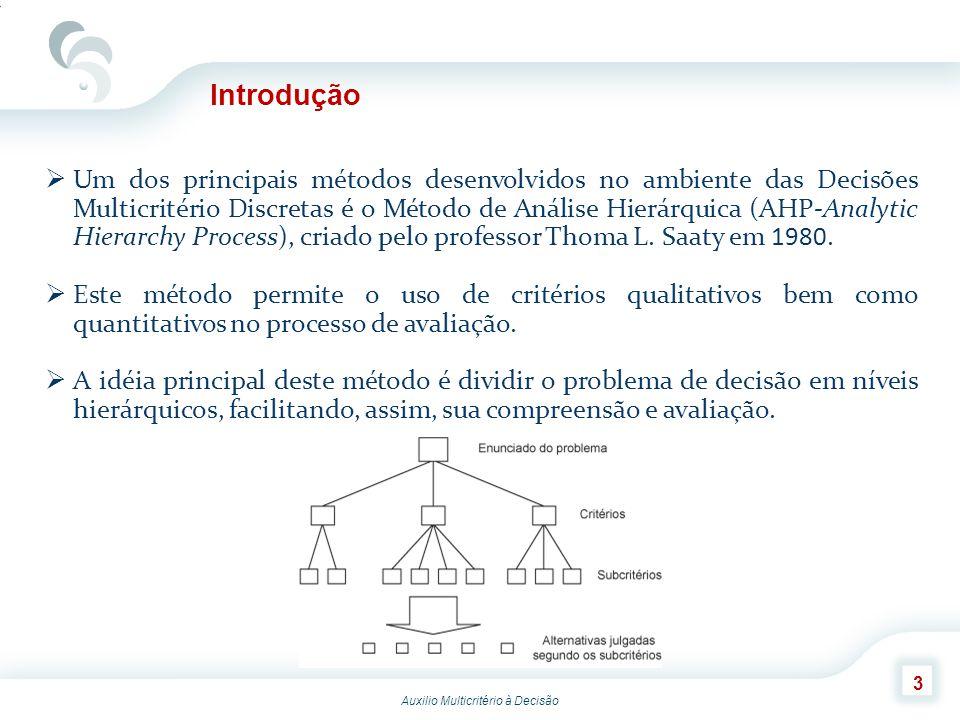 Auxilio Multicritério à Decisão 3 Introdução Um dos principais métodos desenvolvidos no ambiente das Decisões Multicritério Discretas é o Método de An