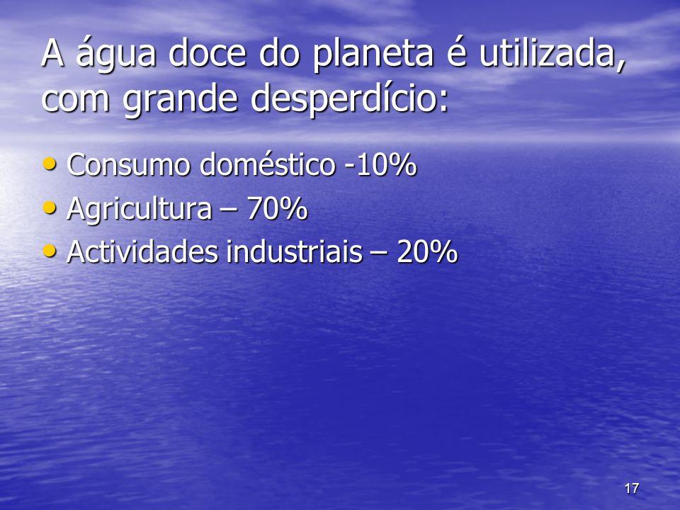 17 A água doce do planeta é utilizada, com grande desperdício: Consumo doméstico -10% Agricultura – 70% Actividades industriais – 20%