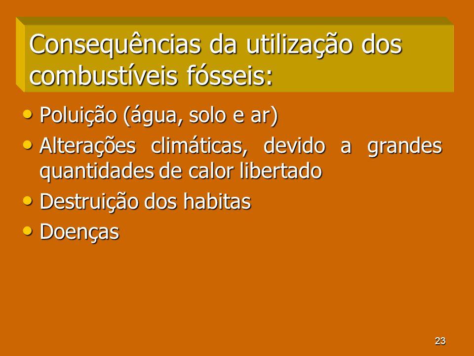23 Consequências da utilização dos combustíveis fósseis: Poluição (água, solo e ar) Poluição (água, solo e ar) Alterações climáticas, devido a grandes