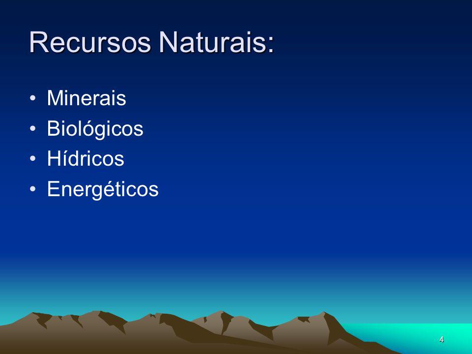 5 1.Recursos Minerais Acumulações ou concentrações de rochas e minerais na crusta terrestre.