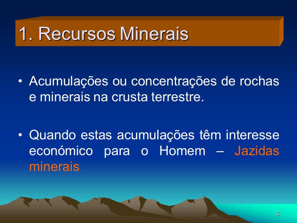 5 1. Recursos Minerais Acumulações ou concentrações de rochas e minerais na crusta terrestre. Quando estas acumulações têm interesse económico para o
