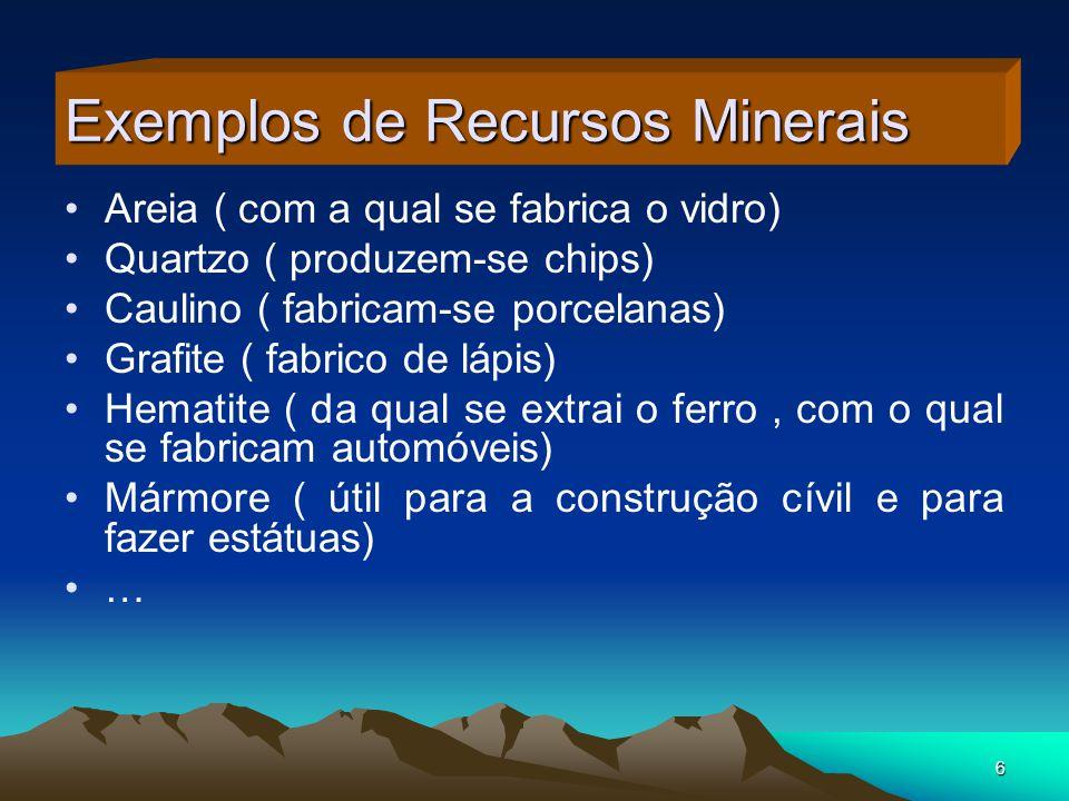 6 Exemplos de Recursos Minerais Areia ( com a qual se fabrica o vidro) Quartzo ( produzem-se chips) Caulino ( fabricam-se porcelanas) Grafite ( fabric