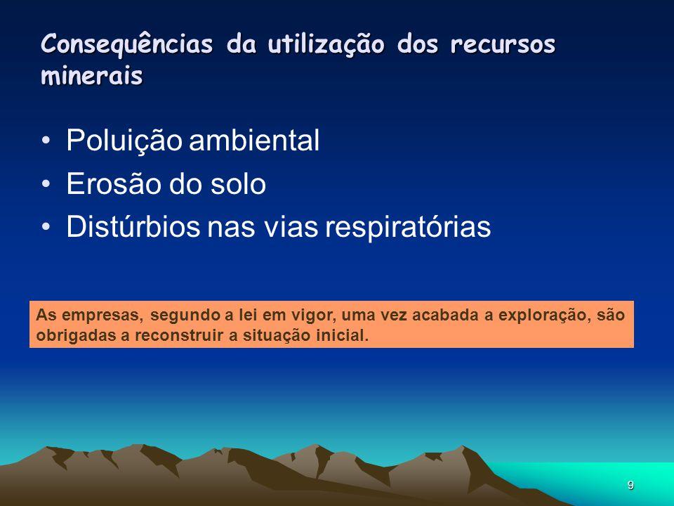 9 Consequências da utilização dos recursos minerais Poluição ambiental Erosão do solo Distúrbios nas vias respiratórias As empresas, segundo a lei em