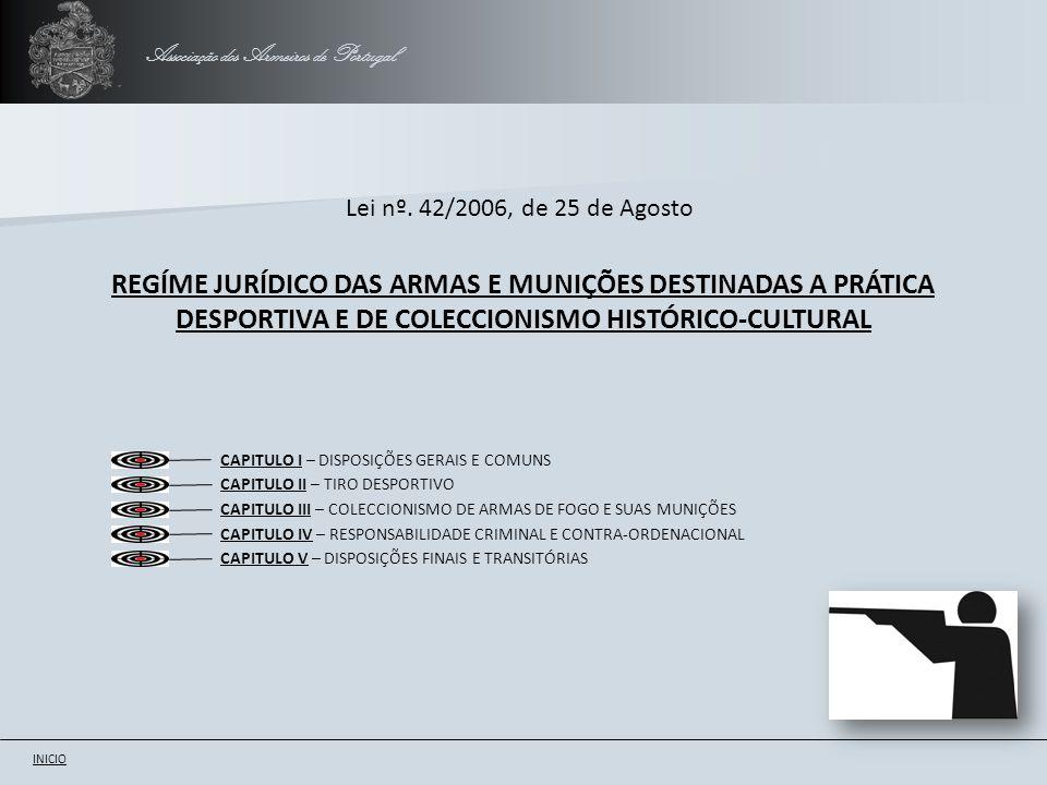 Lei nº. 42/2006, de 25 de Agosto REGÍME JURÍDICO DAS ARMAS E MUNIÇÕES DESTINADAS A PRÁTICA DESPORTIVA E DE COLECCIONISMO HISTÓRICO-CULTURAL Associação