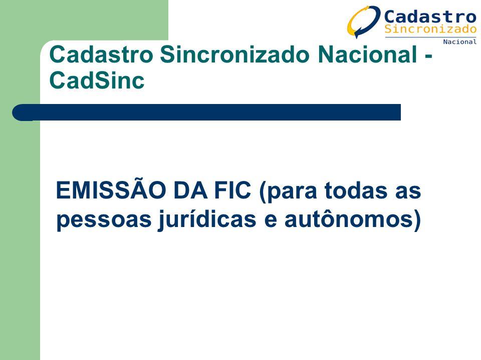 Cadastro Sincronizado Nacional - CadSinc EMISSÃO DA FIC (para todas as pessoas jurídicas e autônomos)