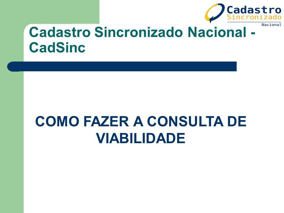 Cadastro Sincronizado Nacional - CadSinc COMO FAZER A CONSULTA DE VIABILIDADE