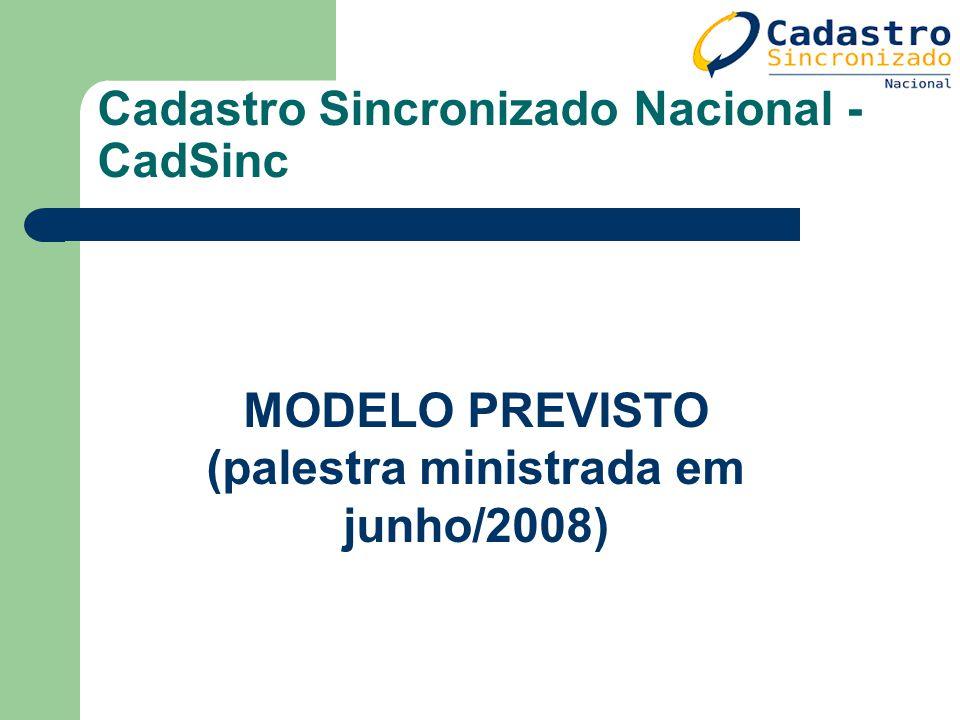 Cadastro Sincronizado Nacional - CadSinc MODELO PREVISTO (palestra ministrada em junho/2008)