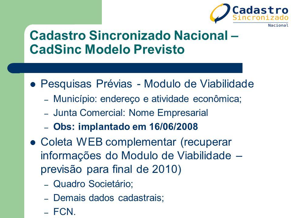 Cadastro Sincronizado Nacional – CadSinc Modelo Previsto Pesquisas Prévias - Modulo de Viabilidade – Município: endereço e atividade econômica; – Junt