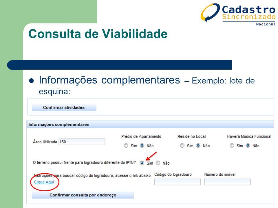 Informações complementares – Exemplo: lote de esquina: Consulta de Viabilidade
