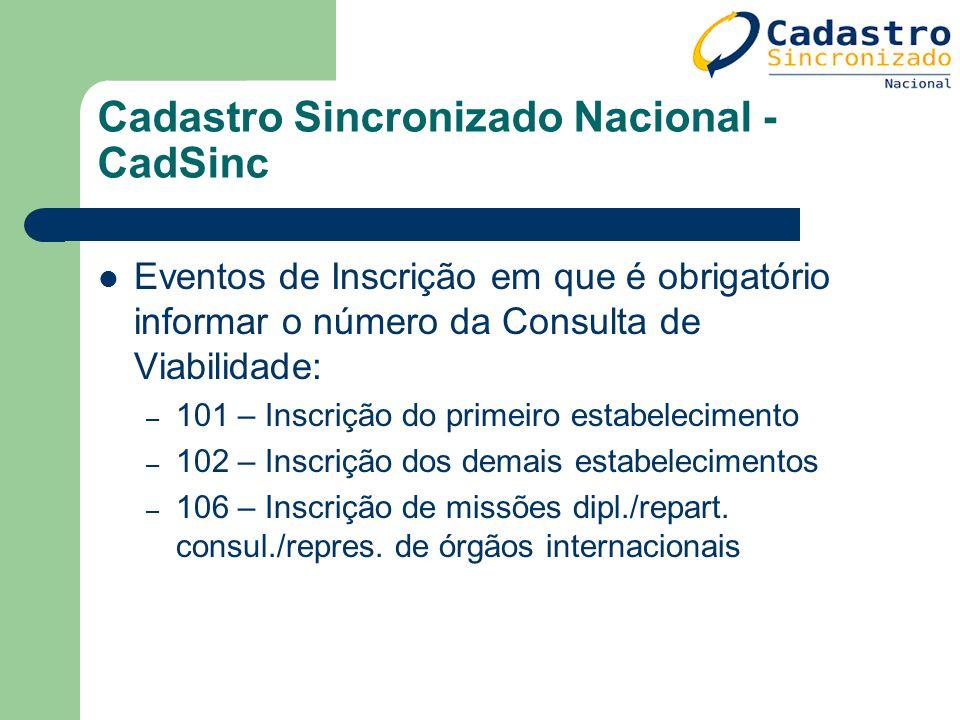 Cadastro Sincronizado Nacional - CadSinc Eventos de Inscrição em que é obrigatório informar o número da Consulta de Viabilidade: – 101 – Inscrição do