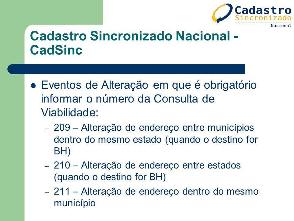 Cadastro Sincronizado Nacional - CadSinc Eventos de Alteração em que é obrigatório informar o número da Consulta de Viabilidade: – 209 – Alteração de