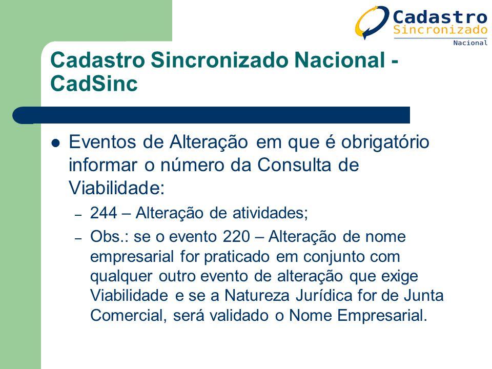 Cadastro Sincronizado Nacional - CadSinc Eventos de Alteração em que é obrigatório informar o número da Consulta de Viabilidade: – 244 – Alteração de