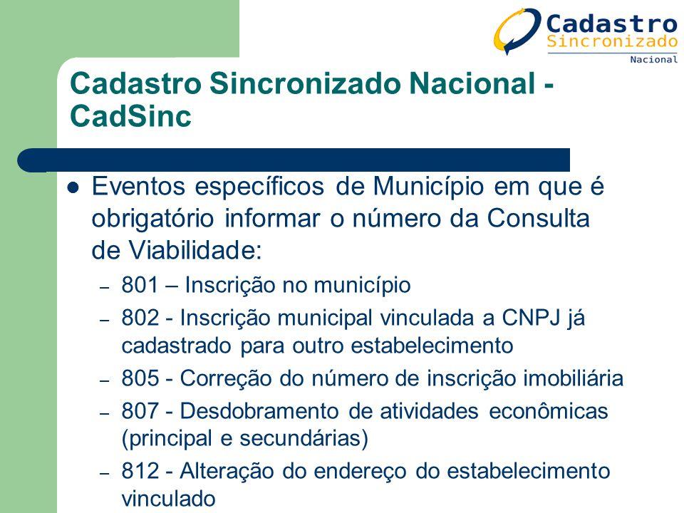 Cadastro Sincronizado Nacional - CadSinc Eventos específicos de Município em que é obrigatório informar o número da Consulta de Viabilidade: – 801 – I