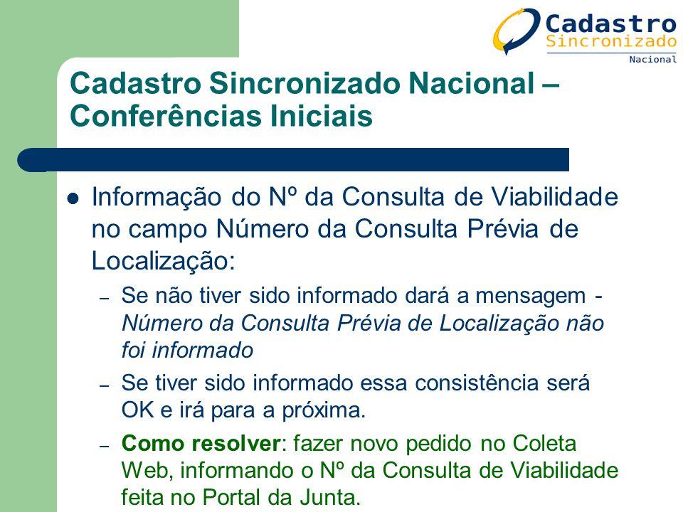 Cadastro Sincronizado Nacional – Conferências Iniciais Informação do Nº da Consulta de Viabilidade no campo Número da Consulta Prévia de Localização: